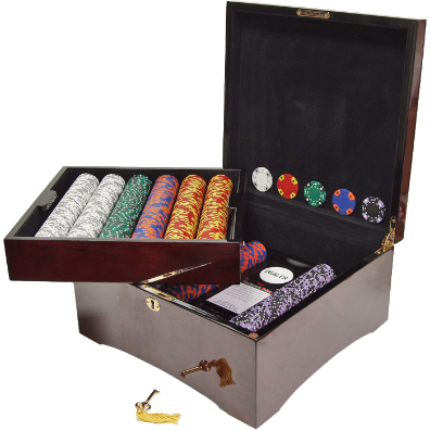 750 14g Tri Color Ace/King Suited Chips in Mahogany Case