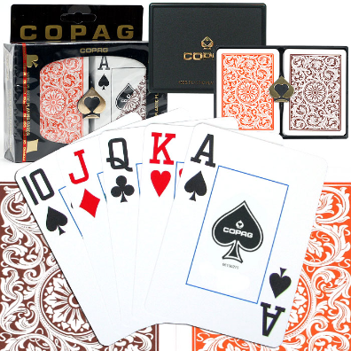 Copag™ Poker Size JUMBO Index - 1546 Orange and Brown Setup