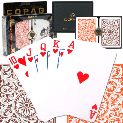 Copag™ Poker Size Regular Index - Orange and Brown Setup