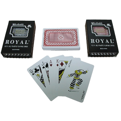 Two Decks- Royal 100% Plastic Playing Cards w/ Star Pattern-Blue-Red