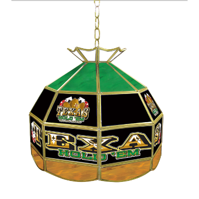 Texas Hold 'em Stained Glass Tiffany Lamp - 16 inch diameter