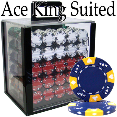 1000 Ct Ace King Suited Chip Set Acrylic Case