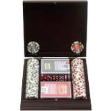 100 11.5g 4 Aces Poker Chip Set w/Beautiful Mahogany Case