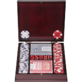 100 Chip Ace/King Suited 11.5g Set w/Beautiful Mahogany Case