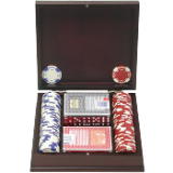 100 11.5G Holdem Poker Chip Set w/Beautiful Mahogany Case