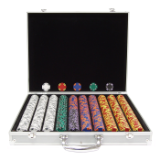 1000 14g Tri Color Ace/King Suited Chips in Aluminum Case
