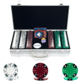 300 14g Tri Color Ace/King Suited Chips in Aluminum Case