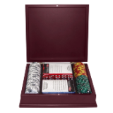 100 Tri Color Ace/King Suited Chips in Mahogany Case