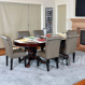 The Premier Poker Table shown here with dining room conversion top and 6 leather upholstered chairs.