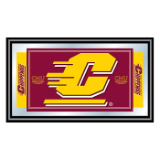 Central Michigan University Logo and Mascot Framed Mirror