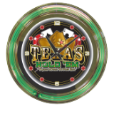 1.2 Texas Hold 'em Neon Clock - 14 inch Diameter