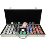 650 11.5 Gram Dice-Striped Poker Chips in Aluminum Case